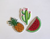 Pineapple, Cactus, Watermelon Embroidered Motifs Patches Iron on Applique Patch