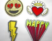 Bright Motifs - Applique Patch Cartoon Emoji Pop Art Embroidered Embellishment Emblems - Lightning Bolt, Angel Heart, Emoji Face