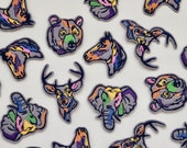 Colour Block Animal Iron On Patch - Stag, Deer, Elephant, Horse, Bear, Giraffe, Cat - Embroidered Felt Appliqué Motifs