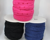 Elastic - Fold Over Elastic with Soft Picot Edge and Diamond Satin Detail - 11mm/1.1cm Width - Hot Pink, Black, Navy Blue - Bra Elastic