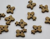 Laser Cut Two Hole Wooden Aeroplane Buttons 18mm x 15mm Children