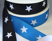 Wide Waistband Elastic with Printed Star Design - Satin Face Plush Back 4cm Wide