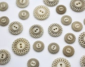 Carved Corozo Buttons in an Intricate Filigree Flower Design 28mm/24mm/17mm
