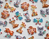 Cute Floral Animal Iron on Patches - Giraffe, Zebra, Fox, Owl, Butterfly, Deer, Racoon - Kids Appliqué Embroidered Motifs