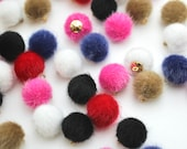 Furry Pom Pom Buttons with Golden Metal Shank Back - 14mm