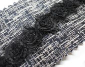 Beautiful Quality Black Rosette Chenille Trim - Delicate Super Soft Trim 3cm Wide