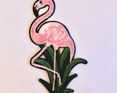 Pink Flamingo Motif - Large Iron on Embroidered Appliqué Patch Motif - High Quality 13x7cm