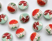 Statement Embroidered Fabric Covered Buttons - Woodland Toadstool/Mushroom - 30mm