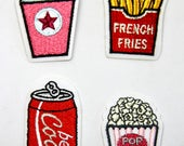 Soda, Popcorn, French Fries and Cola Can Motifs/Iron on Embroidered Patches Appliqué