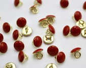 Tomato/Rust Red Enamelled Button with Gold Coloured Metal Back and Shank - 9mm - Atelier Brunette Buttons