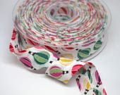Bias Binding - Printed Bias Trim/Tape - With Hot Air Balloon Print in Shades of Pink, Red and Green - 2.5cm/25mm Wide 100% cotton
