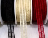 Chiffon Fold Over Elastic Trim in Black, Champagne, Red - 2.2cm/22mm Wide - Lingerie Elastic - Delicate Elasticated Trim