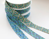 100% Cotton Leaf Print Bias Binding in Yellow, Blue, or Green 27mm Wide
