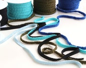 Elasticated Grosgrain Trim - Lingerie/Bridal Garter/ Hair Accessories - Blue, Olive Green, Black