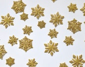 Delicate Gold Snowflake Iron on Patch - Embroidered Metallic Motif - 20mm and 40mm - Perfect for Christmas Deco!