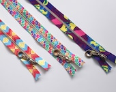 Fun Multicoloured Zips with Metal Teeth and Decorative Pull 20cm Jelly Bean and Chevron