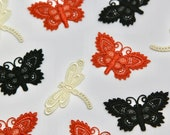 Dragonfly/Damsel Fly/Butterfly Motifs and Iron on Patches Approx 5cm x 3.5cm -- Black, Cream, Burnt Orange