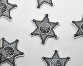 Sheriff Badge Iron on Embroidered Patch - Beautiful Quality Embroidered Star Appliqué Motif - 3.5cm x 3.5cm