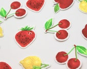 Strawberry, Cherries, Apple, Lemon Iron on Embroidered Fruit Motifs/Patches Appliqué Patches