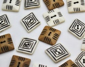 Square or Diamond Hand Carved Bone Buttons with Simple Grooved Designs
