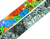 Elastic - Tropical Print Plush Back Wide Waistband Elastic 3.5cm wide available in Colourful or Grey/black