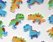 Cute Baby Dinosaur Patches -Colourful Kids Motifs for Embellishment - T-Rex, Stegosaurus, Kentrosaurus - Blue, Green, Yellow
