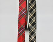Tartan Bias Binding in Black or Red - 20mm Wide - 100% Cotton - Sold By The Metre