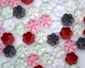 Pair of Buttons - Flower Shaped Buttons with High Shine Plastic Glass Look - Red, Pink, Clear, Black, Green - 15mm