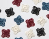 Delicate Lace Quatrefoil Motifs - Teal, Burgundy, Black, Cream - 32mm