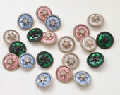 Luxurious Diamanté Snowflake Button - Green/Blush Pink/Ice Blue/Cream - Vintage Style Button with Shank - 20mm/32 lignes
