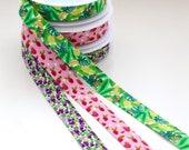 Fruit Print Bias Binding - Purple Figs/Grapes, Tropical Leaves/Bananas, Pink Raspberries - Peach Skin Soft Feel - 25mm Wide