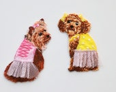 Yorkshire Terrier Dog Patches - Dressed Up Dogs in Tutus - Iron on Novelty Motif - Cute Canine