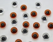 Pair of Teddy Bear and Stuffed Toy Eye Buttons - Clear and Orange/Brown - 15mm