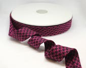 Bias Binding - Luxury Bias Binding Tape/Trim in Fuchsia Pink and Black Dogstooth/Houndstooth Weave 20mm/2cm Wide