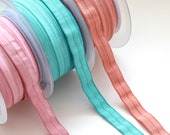 Vintage Shades Fold Over Elastic - Aqua, Rose, Terracotta - Shiny Satin Face with Plush Back - Lingerie/Knicker Elastic - 15mm