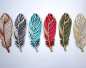 Iron on Embroidered Feather Motifs/Patches with Metallic Detail Copper/Olive Green/Turquoise/Bright Pink/Gold/Silver/Grey 7cm x 2.4cm.