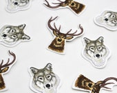 Embroidered Deer Stag and Wolf Motifs Patches Applique
