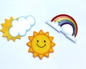 Iron On Embroidered Cloud Motifs/Patches - Rainbow and Cloud or Sun and Cloud Appliqué Patch - Great for Kids!