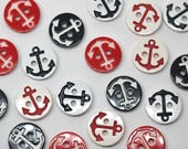 Pair of Two Colour Laser Cut Anchor Buttons - Two Hole Sailor Buttons - 1.2cm Wide - Red, White, Navy Blue
