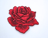 Iron on Embroidered Red Rose Appliqué Motif/Patch - Rose Embellishment Emblem - Superb Quality - 5.4cm x 4.5cm