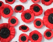 Poppy Button with Shank - Red and Black - 3D Shape
