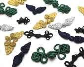 Frog Clasps - Black, Green, Gold, Navy, Silver and Gold - Various Designs - Knotted Chinese Button Fastenings