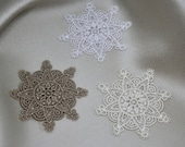 Iron on Embroidered Lace Motifs/Patches/Applique/Embellishments in Snowflake Designs.Superb Quality Fine Lace 4.6cm x 4.6cm