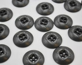 Pressed Black Metal Utilitarian Sew Through Buttons 20mm, 23mm, 28mm