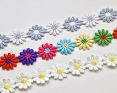 Embroidered Daisy Trim/Flower Trim in Multi-Coloured Rainbow or White/Grey 26mm/2.6cm Daisy Motifs