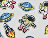 Glitter Spaceman/Silver Glitter Space Ship/Astronaut/Planet/Saturn Beautiful Quality Embroidered Iron on Motifs/Patches Appliqué Patches