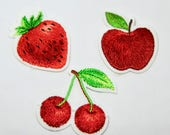 Strawberry, Cherries, Apple Iron on Embroidered Fruit Motifs/Patches Appliqué Patches