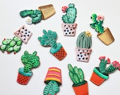 Iron on Cactus Patches - 10 Styles - Small Embroidered Appliqué Cacti Badges - Customise Your Clothes!