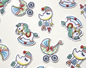 Iron on Embroidered Woven Patches/Badges in Cute Nursery Designs - Moon Mobile, Pram, Rocking Horse - Baby Motifs