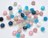 Iridescent Crystal Effect Button Made From Lightweight Plastic with Moulded Shank Back in Dark Blue, Light Blue, Pink or Clear - 12mm